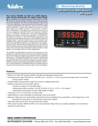 PM-RM True RMS Meters: AC Input