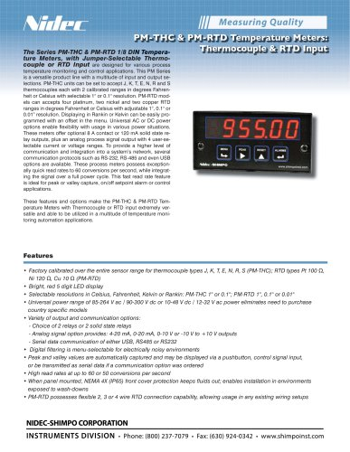 PM-THC & PM-RTD Temperature Meters: Thermocouple & RTD Input