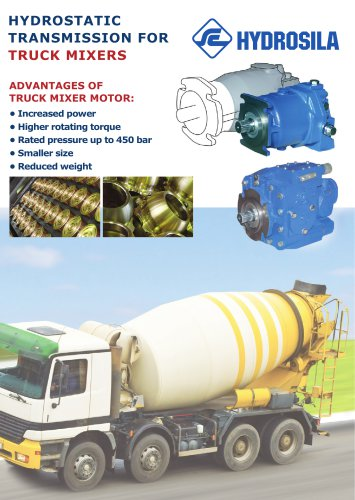 Hydrostatic transmission for truck mixers