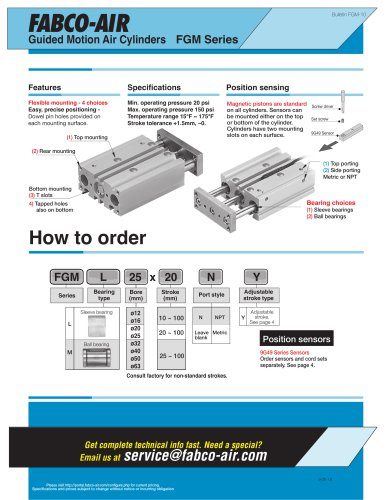 Guided Motion Air Cylinders FGM Series