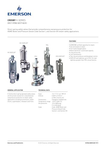 CROSBY H-SERIES DIRECT SPRING SAFETY VALVES