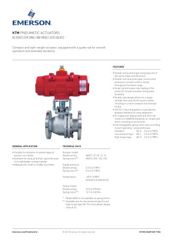KTM PNEUMATIC ACTUATORS AK SERIES (FOR SMALL AND MIDDLE SIZED VALVES)