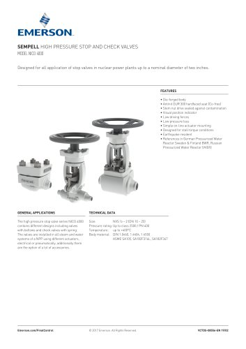 SEMPELL HIGH PRESSURE STOP AND CHECK VALVES MODEL NICO 4000