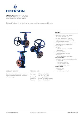 YARWAY BLOW-OFF VALVES SEATLESS, HARDSEAT AND UNIT TANDEM