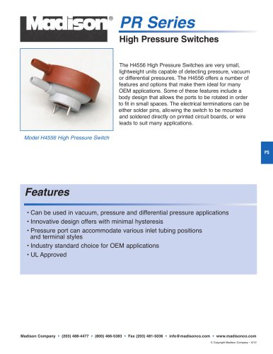 Catalog page: Pressure Switches - PR Series