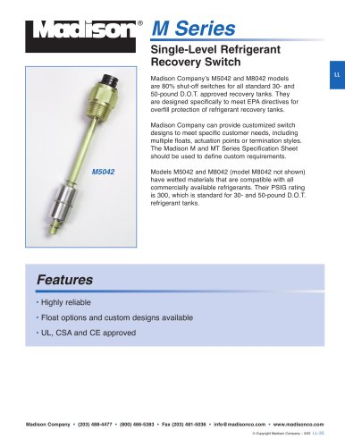 Single-Level Refrigerant Recovery Switch (M Series)