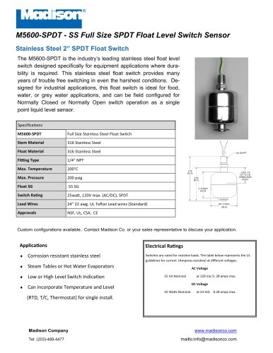 SPDT SS Float Switch