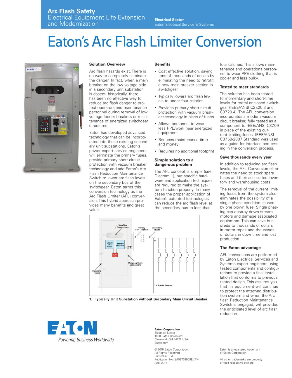Eatons Arc Flash Limiter Conversion Cutler Hammer Pdf Catalogue Operator For A Circuit On Wiring Diagram Of Vacuum Breaker 1 Pages