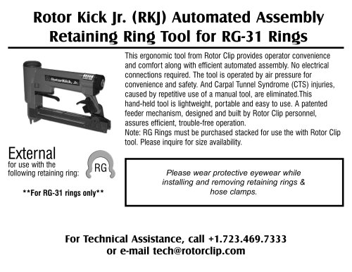 Rolor Kickjr. (RKJ) Automated Assembly Retaining Ring Tool for RG-31 Rings