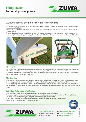 Filling station for wind power plants