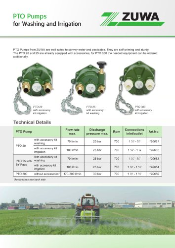 PTO Pumps for Washing and Irrigation