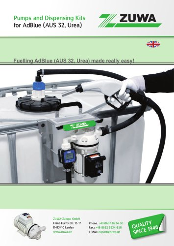 Pumps and Dispensing kits for AdBlue (AUS 32, Urea)