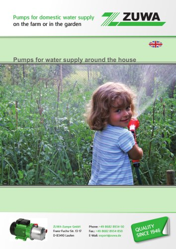Pumps for domestic water supply on the farm or in the garden