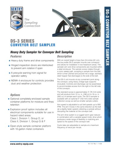 Model DS-3 Conveyor Belt Sampler Data Sheet 18.1.18