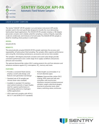 Sentry ISOLOK API-PA Hydrocarbon Liquid Sampler Spec Sheet