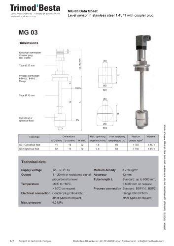 Data Sheet MG 03