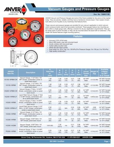 Vacuum Gauges and Pressure Gauges