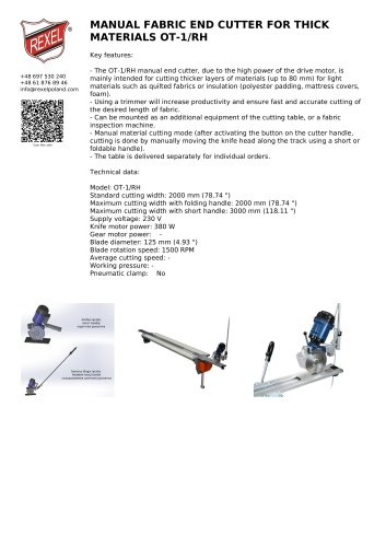 MANUAL FABRIC END CUTTER FOR THICK MATERIALS OT-1/RH