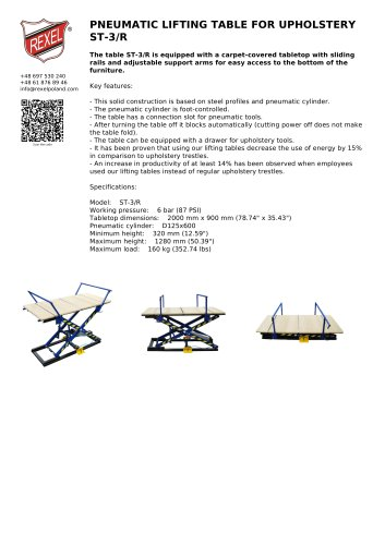 PNEUMATIC LIFTING TABLE FOR UPHOLSTERY ST-3/R