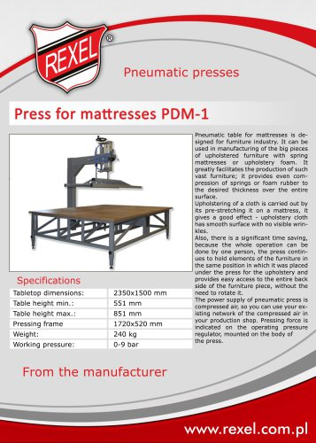 Pneumatic presses for upholstery REXEL