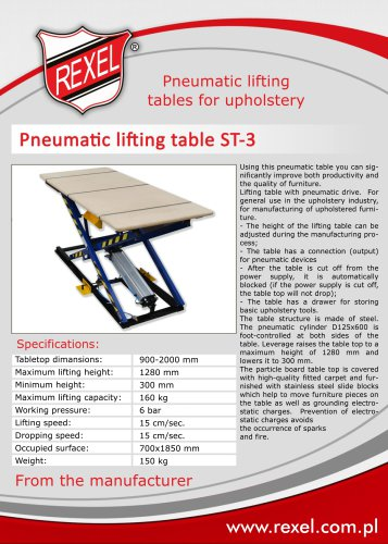 Pneumatic scissor lifting tables for upholstery REXEL