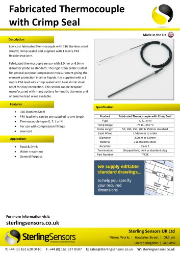 Fabricated Thermocouple with Crimp Seal