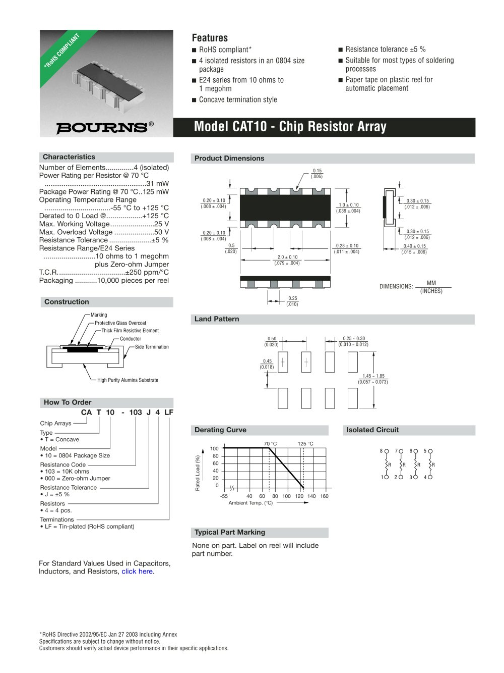 Chip Resistor Arrays Cat 10 J Bourns Pdf Catalogue Technical Working Of Resistors 1 2 Pages