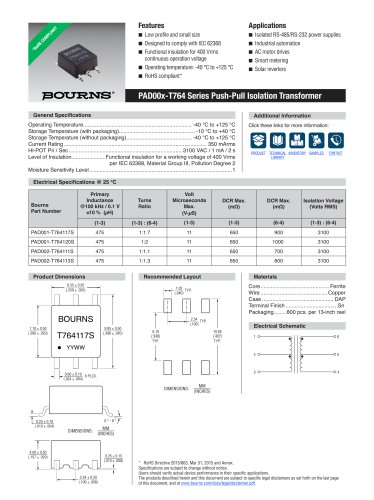PAD00x-T764 Series Push-Pull Isolation Transformer