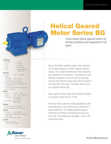 Helical Geared Motor Series BG