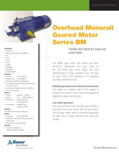 Overhead Monorail Geared Motor Series BM