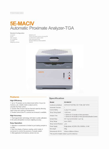 CKIC 5E-MAC IV Automatic Proximate Analyzer