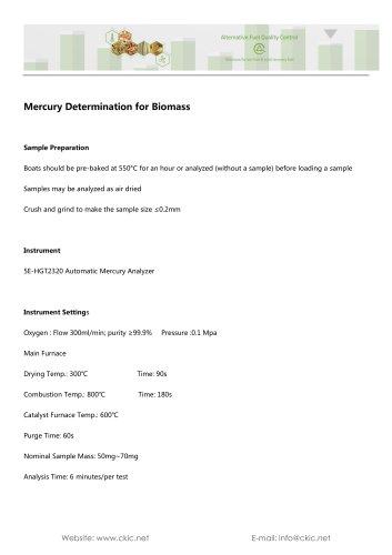 Mercury Determination for Biomass