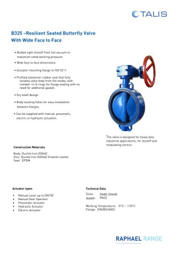 B325 –Resilient Seated Butterfly Valve