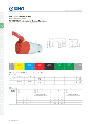 IEC&CEE Female and male IP44 2P+E connector