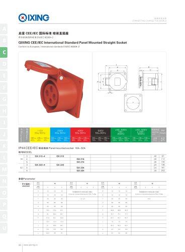 IEC&CEE Female and male IP44 2P+E panel mounted  socket
