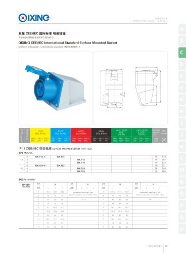 IEC&CEE Female and male IP44 2P+E surface mounted  socket