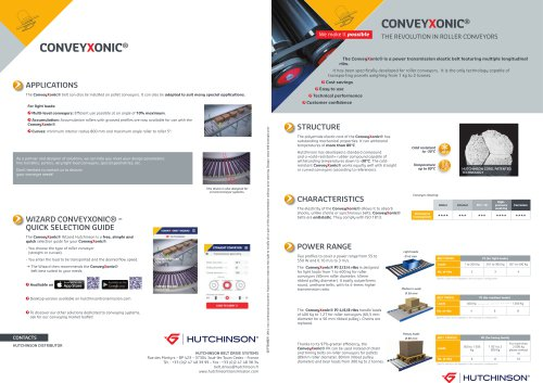 Conveyxonic® (Presentation of the Conveyxonic® product and its technical data)