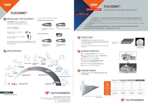 Hutchinson Flexonic, The first flexible belt for industry (Presentation of the Hutchinson Flexonic product and its technical data)