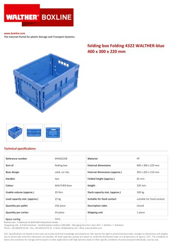 folding box Folding 4322 WALTHER-blue 400 x 300 x 220 mm