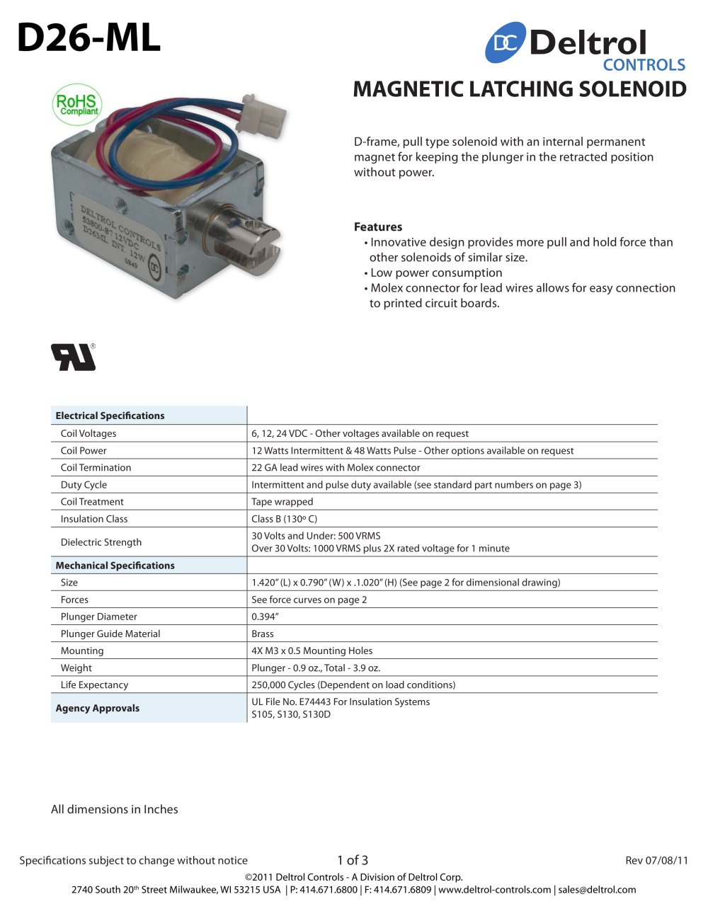 D26 Ml Magnetic Latching Solenoid Deltrol Controls Pdf Catalogue 48 Volt Wiring Diagram 1 3 Pages