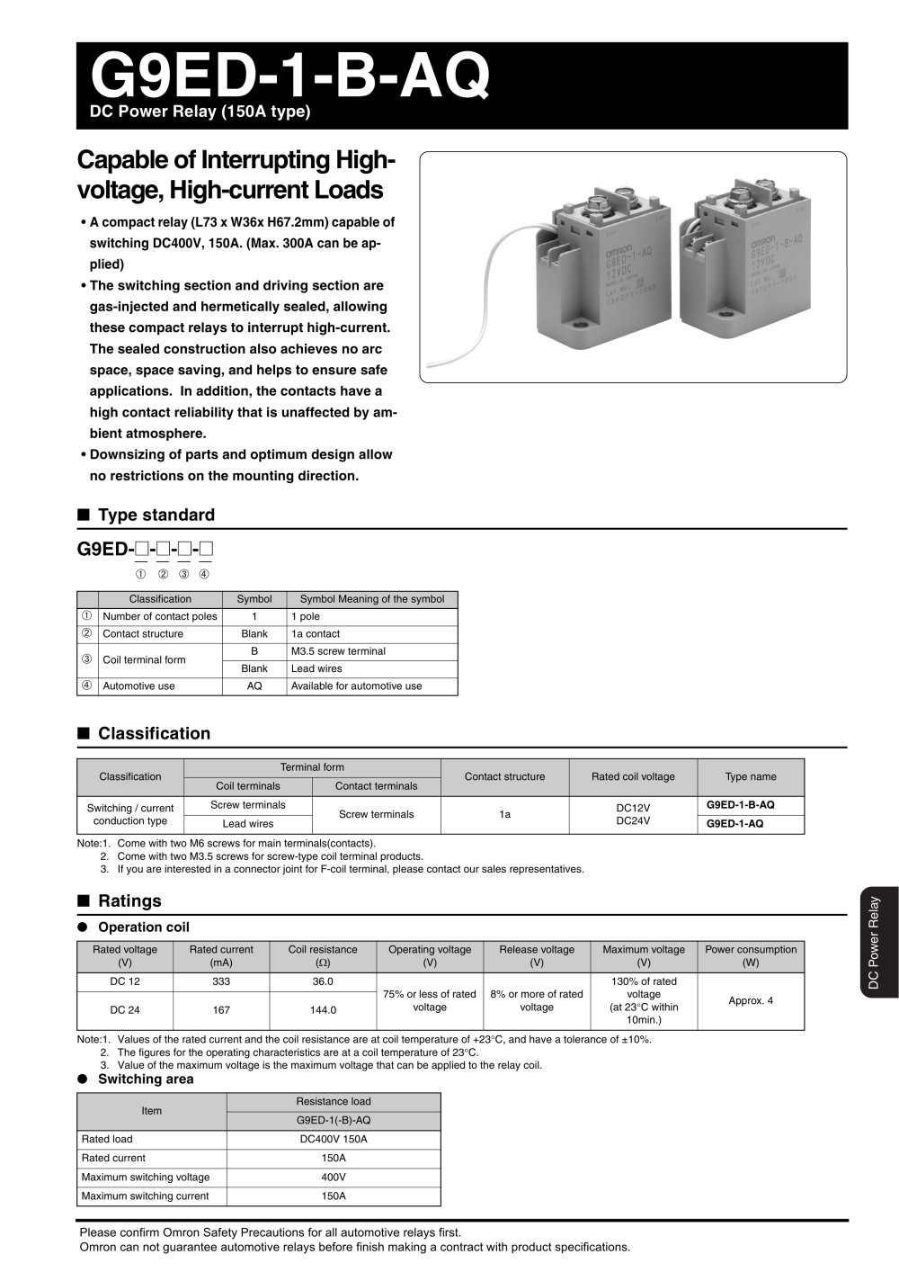 G9ed Omron Electrical Components Pdf Catalogue Technical Current Relay 1 3 Pages
