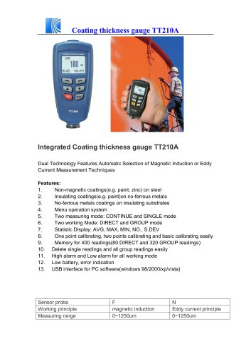 Coating thickness gauge TT210A