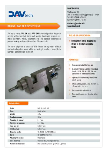 360° radial spray valve DAS 50-50 N