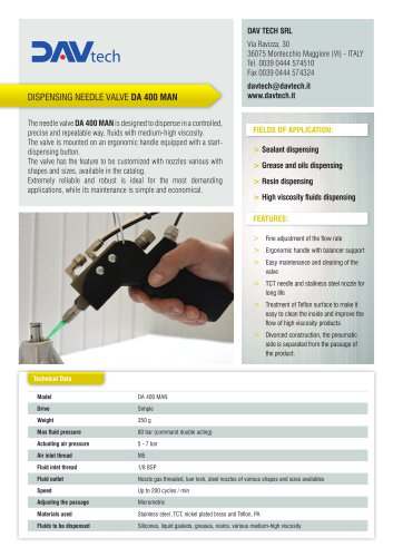 DA 400 MAN needle valve