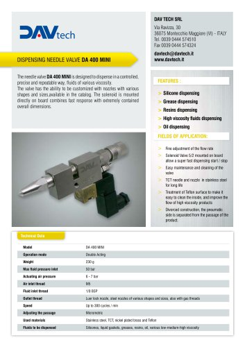Dispensing needle valve DA 400 MINI
