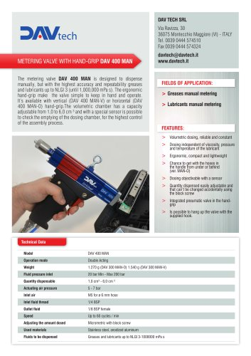 Metering valves with hand-grip DAV 400 MAN