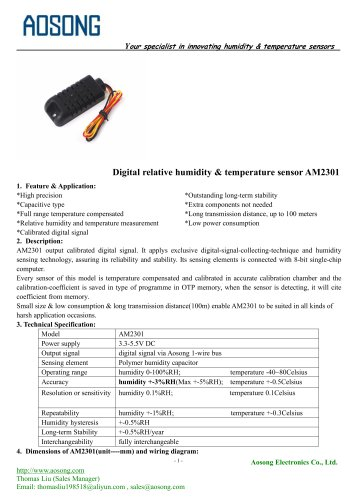 Digital humidity and temperature sensor-AM2301 AOSONG