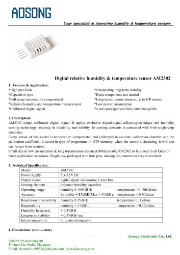 Digital humidity and temperature sensor-AM2302 AOSONG