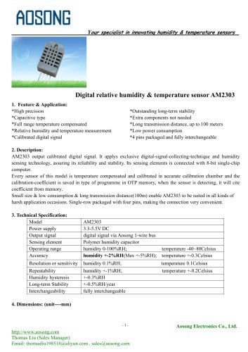 Digital humidity and temperature sensor-AM2303 AOSONG