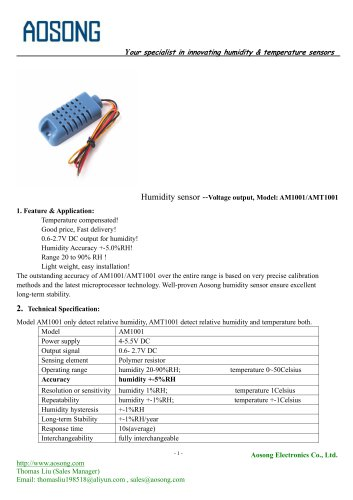Humidity sensor-AM1001 AOSONG